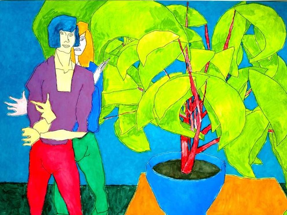 Quadro creato da AARON un AI. Sono rappresentati due amici davanti ad un vaso con una pianta, il tutto molto colorato
