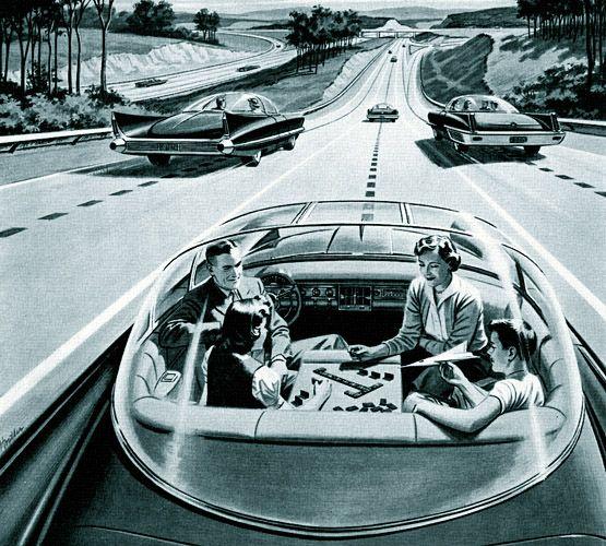 Famiglia stile anni 50 che viaggia su un auto a guida autonoma