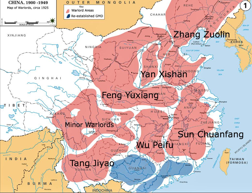 mappa della Cina nel 1925