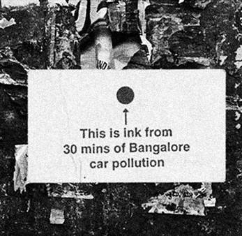 This is ink from 30 mins of Bangalore car pollution