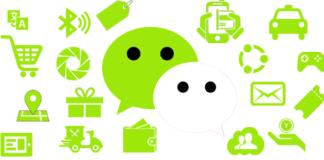 fumetti verdi e bianchi con icon che simboleggiano le funzioni di wechat