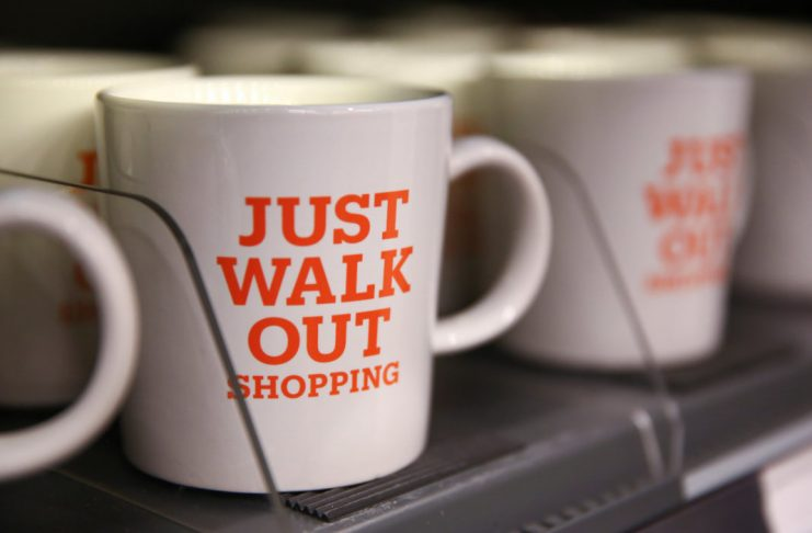 Mugs that advertise the store's convenience are for sale in the new Amazon Go store in Seattle