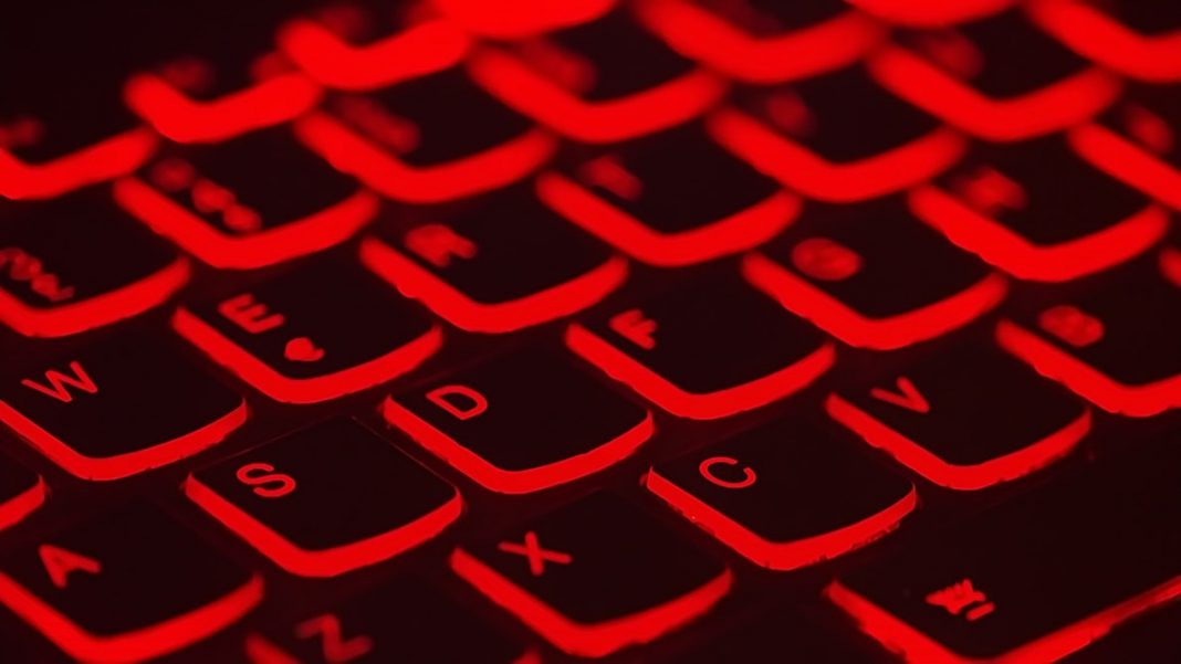 PC keyboard backlit with red light