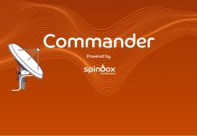 writing Commander powered by spindox with a big speaker. orange background