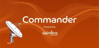 megafono con scritta COMMANDER powered by Spindox _ sfondo arancione con onde in sospensione