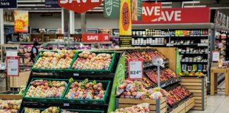 shelves of fruits in a supermarket