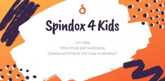 Spindox 4 Kids, immagine di copertina, sfondo arancione con scritte pastella bianche e viola. Il testo dice: Un'idea, Mille Modi per realizzarla. Questa settimana che cosa inventerai?