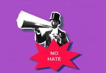 Odio online. Sfondo viola, signore che parla con megafono e vignetta no hate