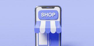 Smart retail, immagine con sfondo lilla lo smartphone diventa uno shop