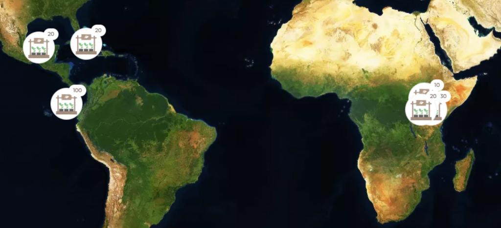 Distribuzione geografica della foresta Spindox.